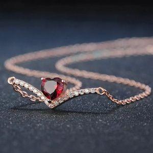 ❤️ Natural Red Garnet & Silver Necklace 12301345